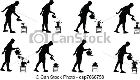 Vector of silhouettes watering the flowers.