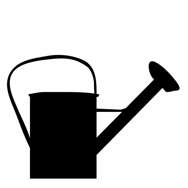 Watering Can Black Silhouette Free Stock Photo.