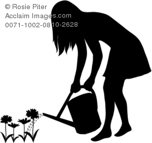 Clipart Illustration of a Silhouette of a Woman Watering Flowers.