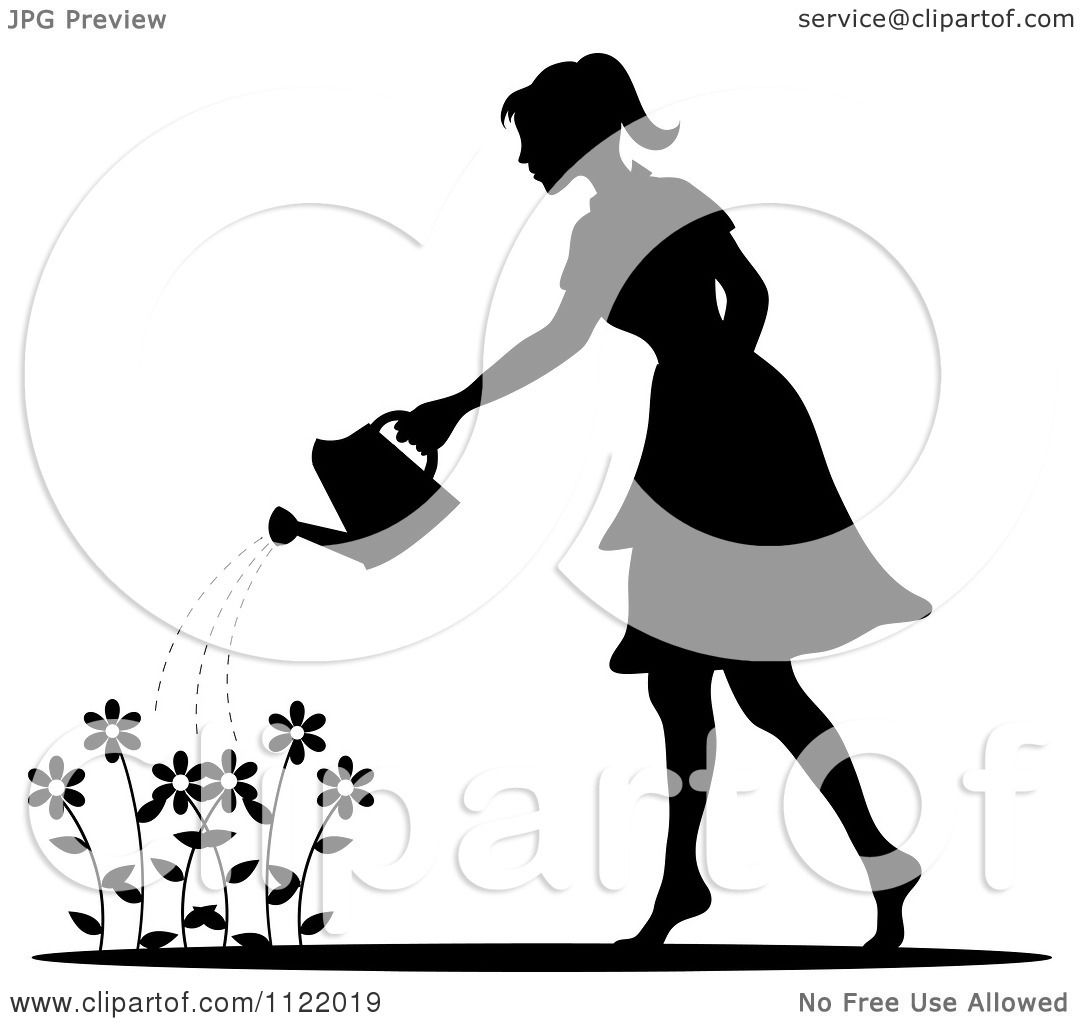 Clipart Of A Silhouetted Woman Watering A Flower Garden.