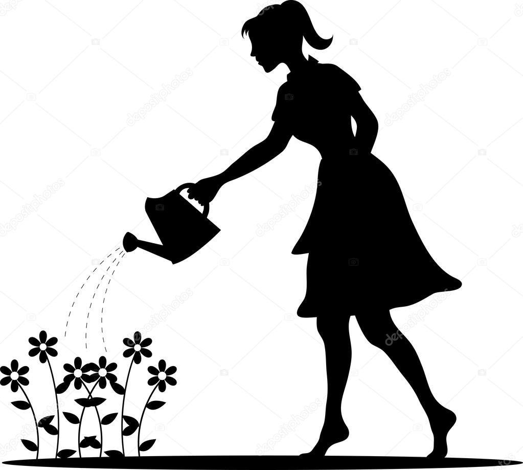 Clip Art Illustration of a Silhouette of a Young Woman Watering.
