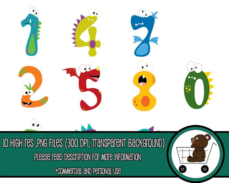 silly monster number clipart.