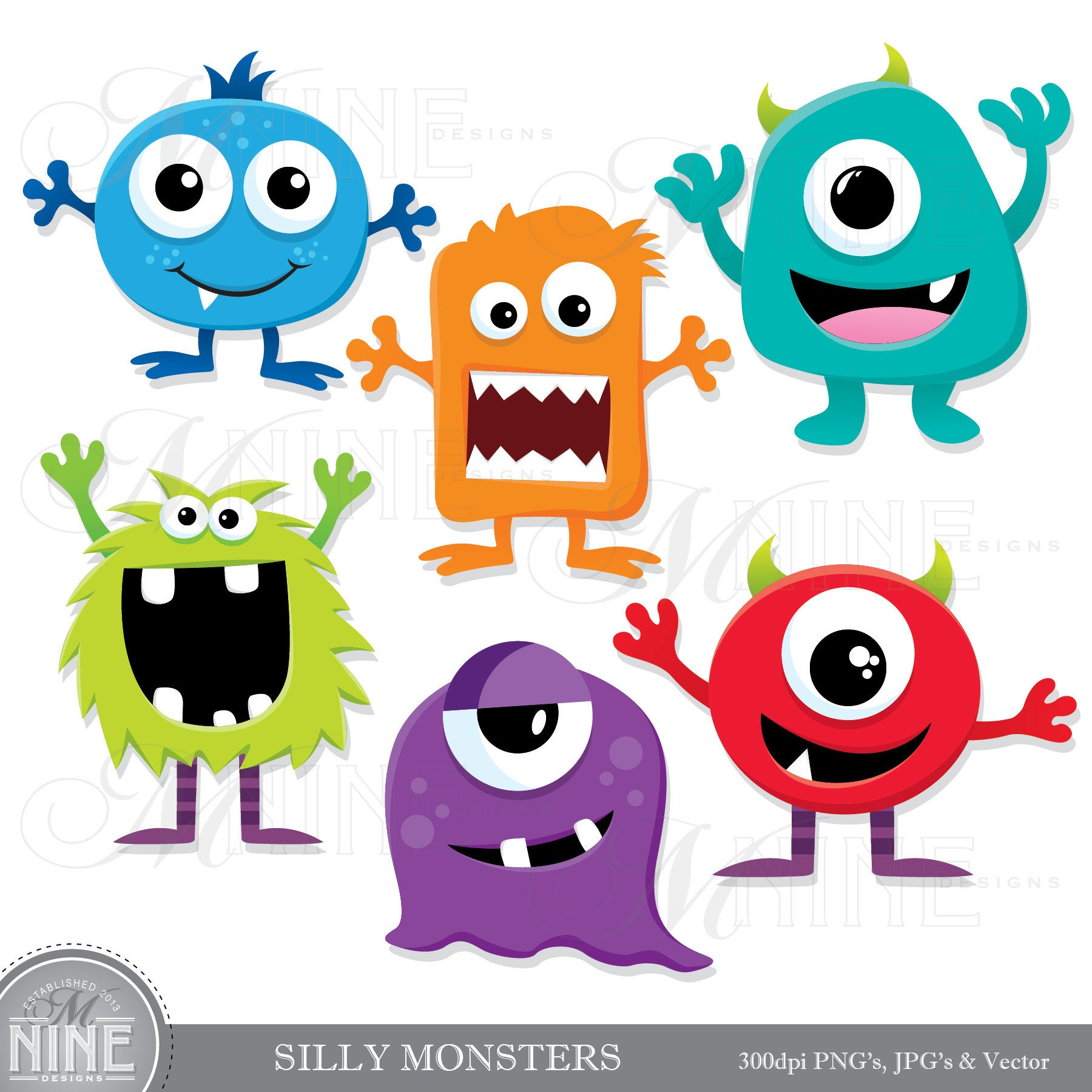 SILLY MONSTERS Clip Art / Monster Clipart Downloads / Monster Party,  Monsters Theme, Monsters Scrapbook Clipart, Vector Monsters.