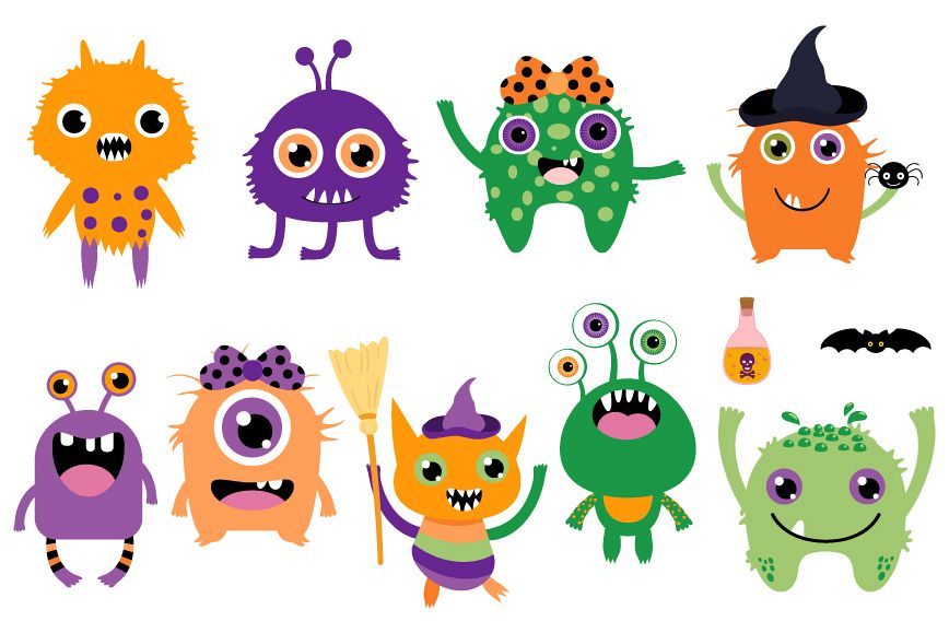 Cute Halloween monsters clipart set, Funny silly creatures.