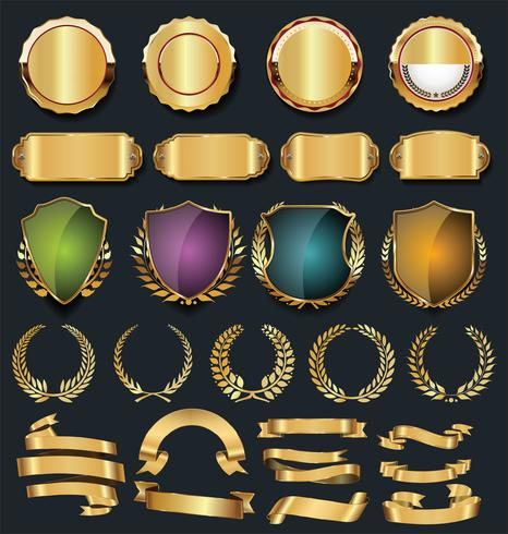 Luxury gold and silver design elements collection.