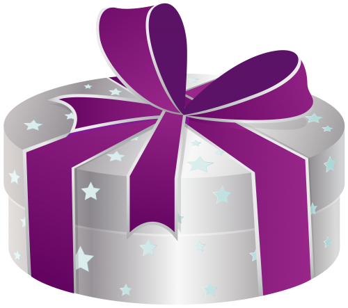 Silver Gift Box with Stars PNG Clipart.
