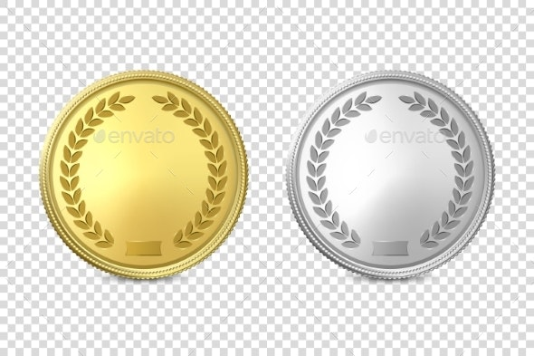 Vector 3d Realistic Blank Golden and Silver Metal.