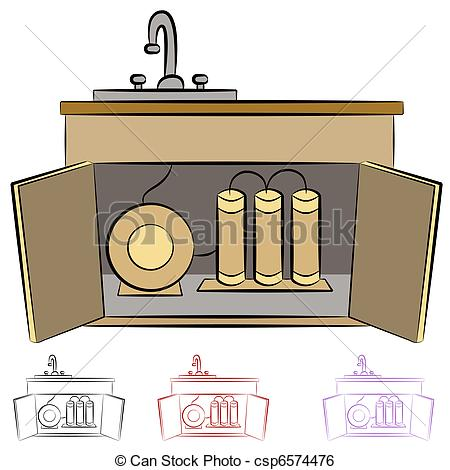 Clip Art Vector of Kitchen Sink Water Filtration System.