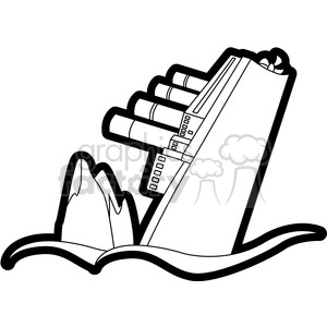 sinking ship from an iceberg black and white clipart. Royalty.