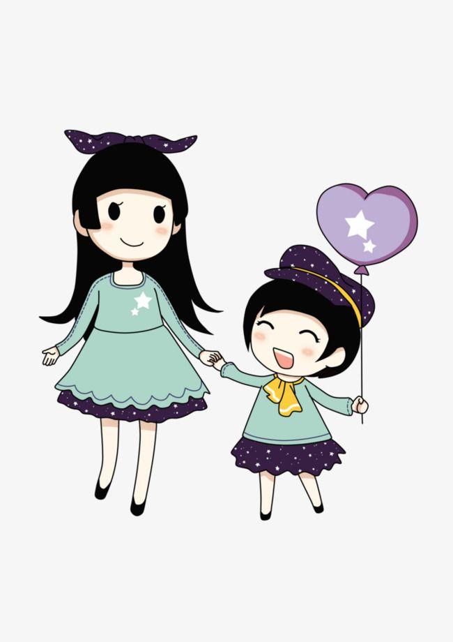 Cartoon Sisters, Cartoon Clipart, Sisters, Animation PNG.