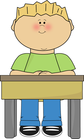 Student Sitting at School Desk.