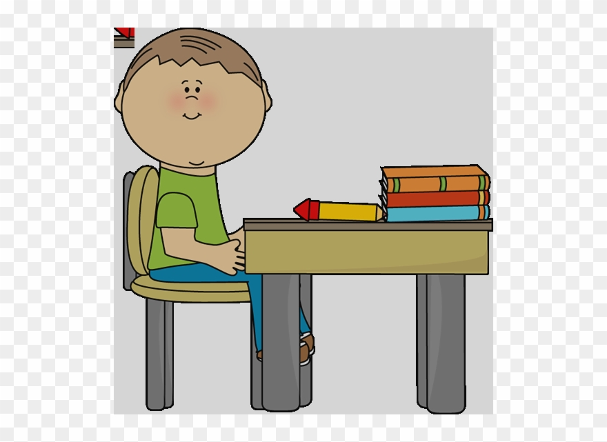 Boy Sitting At Desk Clipart.