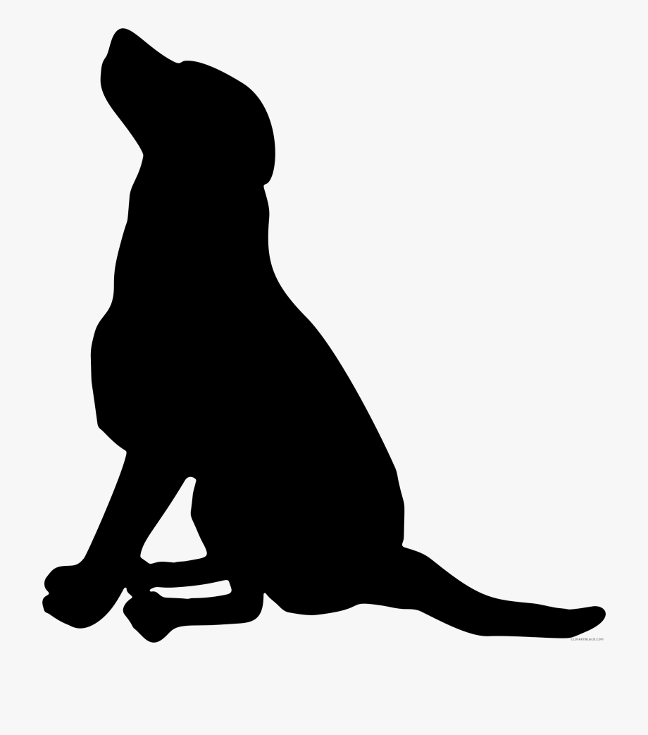Labrador Retriever Pet Sitting Silhouette Puppy.
