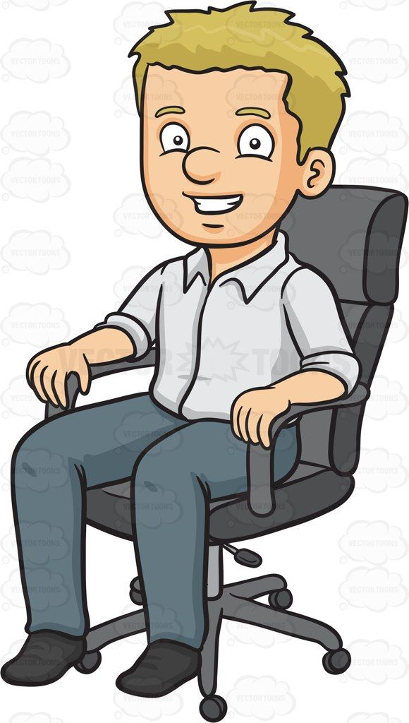 A man sitting in his office chair #cartoon #clipart #vector.