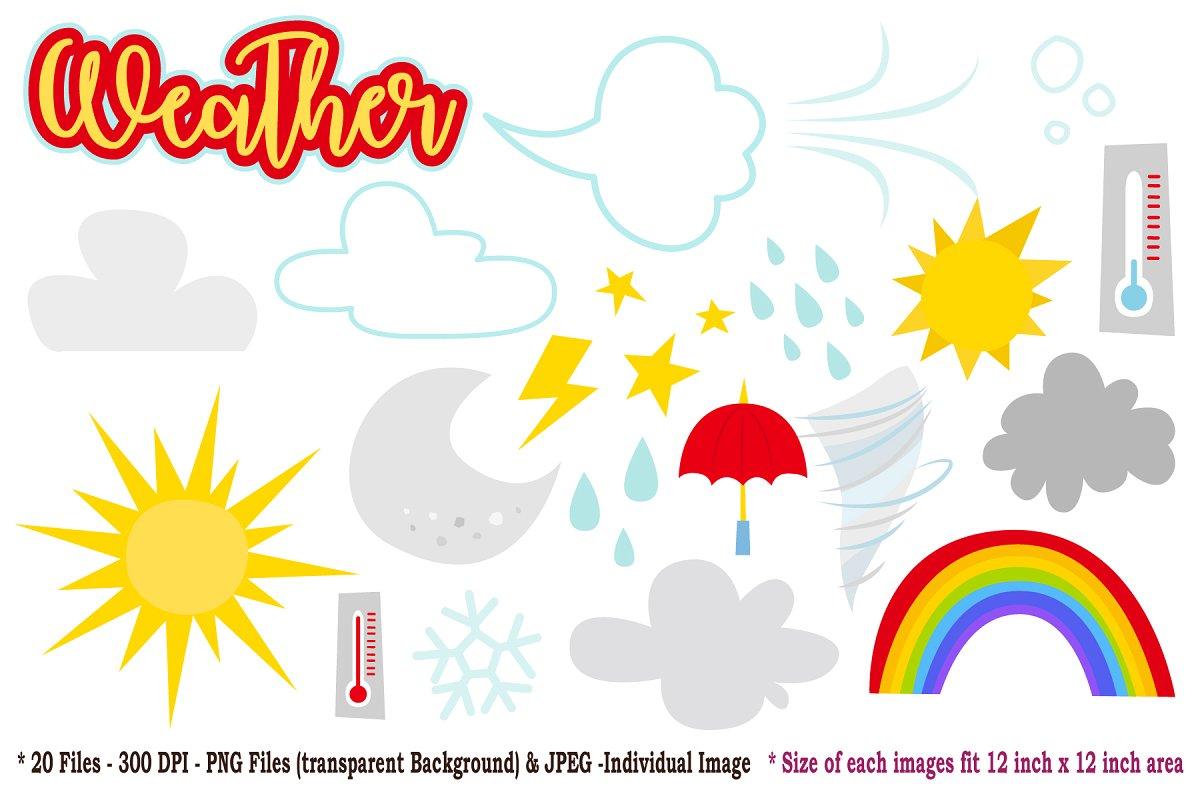 Simple Weather Digital Clip Art ~ Illustrations ~ Creative.