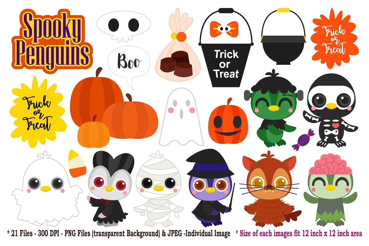 Halloween Penguins Digital Clip Art ~ Illustrations.