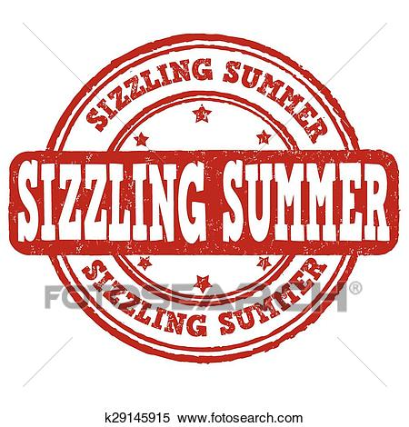 Sizzling summer stamp Clipart.