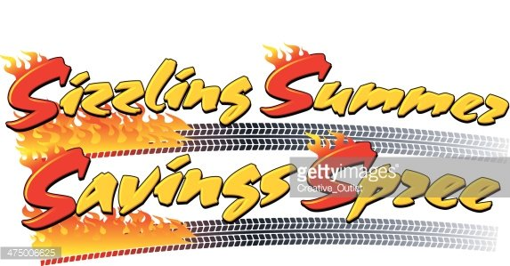 Sizzling Summer Heading C Clipart Image.