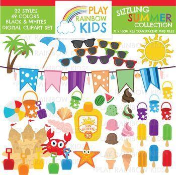 Summer Clipart {Play Rainbow Kids}.