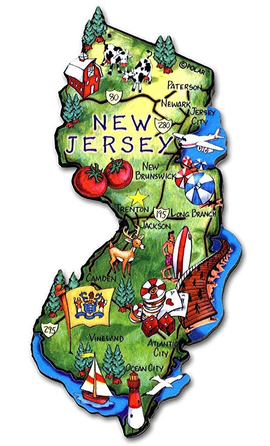 New Jersey State Decowood Jumbo Wood Fridge Magnet 4.