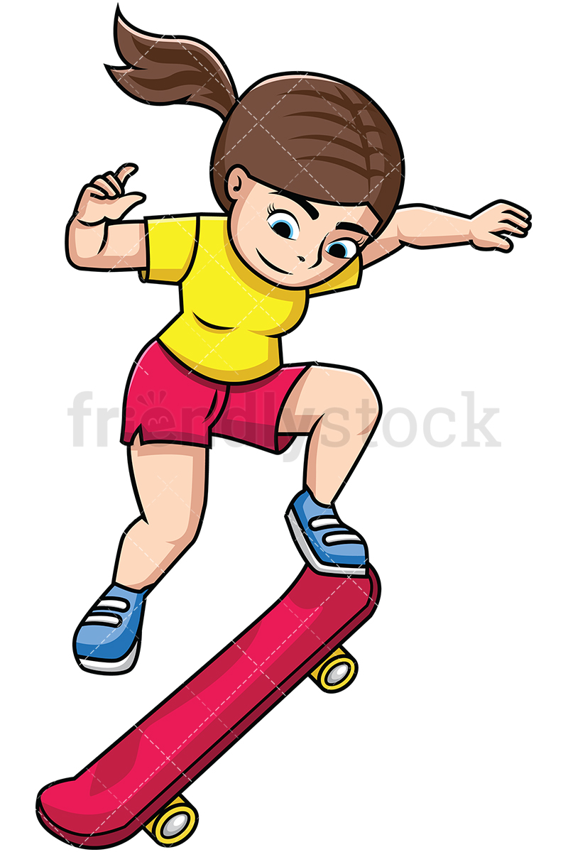 Woman Performing Trick With Skateboard.