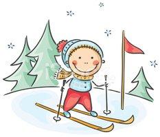 Skifahren Clipart.