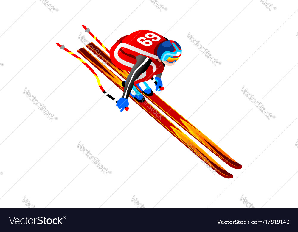 Skier jump clipart 3d.