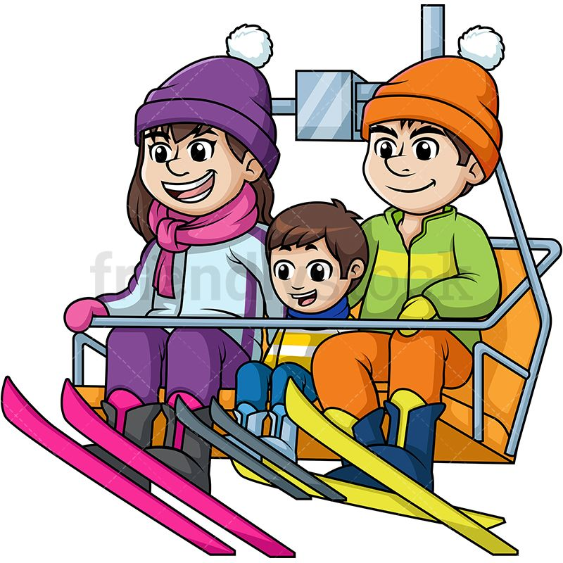Family Riding A Ski Lift Up A Hill.