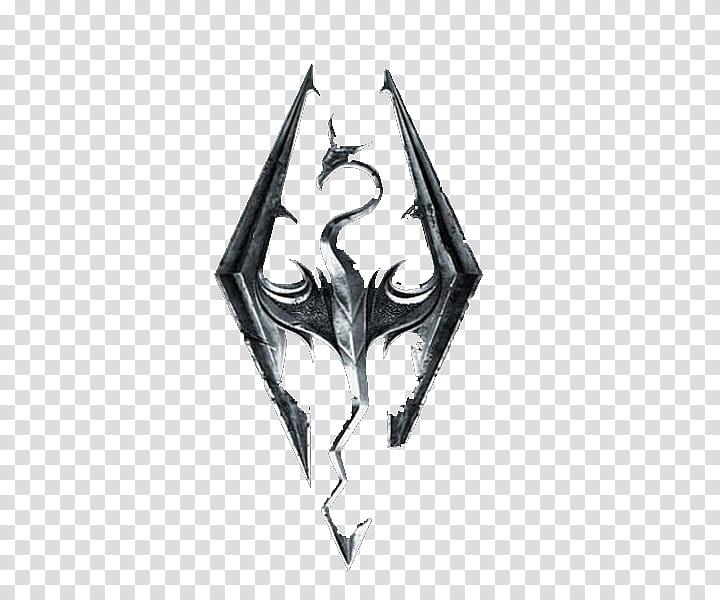 Skyrim Logo, black dragon graphic transparent background PNG.