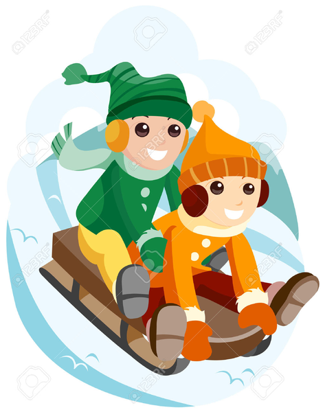 Children Sledding Clipart.