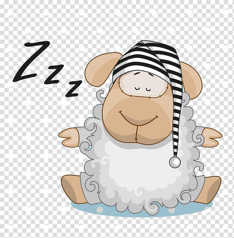 Sheep sleeping illustration, Frog Sleep , Sheep cartoon transparent.