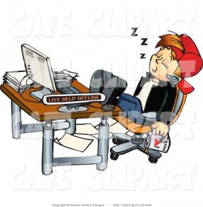 Clipart Sleeping At Desk.