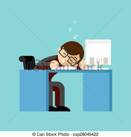 Vector Illustration of Businessman sleeping on his office desk top.
