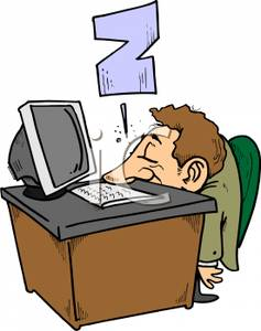 Sleeping At Desk Clipart.
