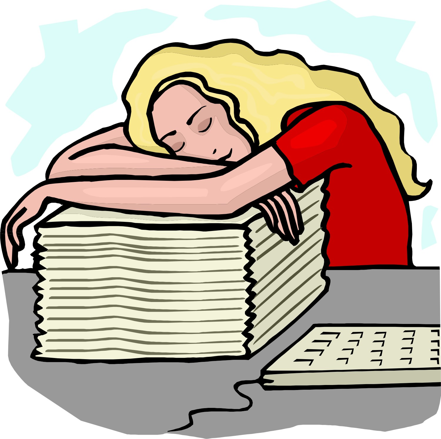 clipart woman sleeping at desk #9