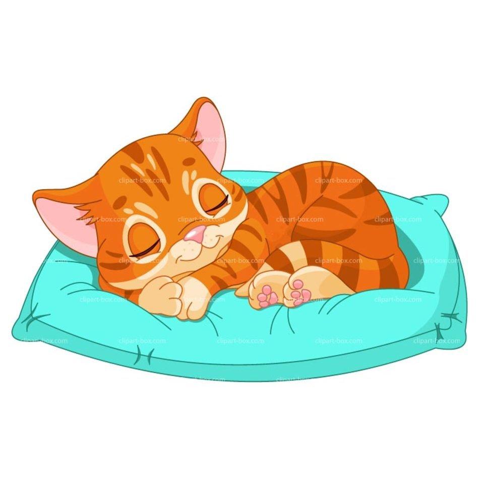 Sleeping Cat Clip Art free image.