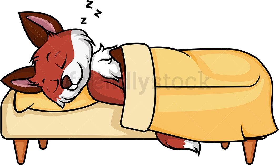 Fox Sleeping In Bed.