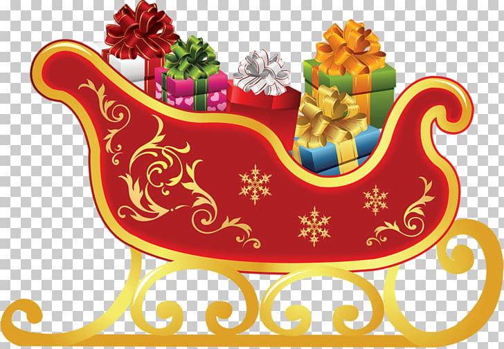 Rudolph Santa Claus Sled Christmas , santa sleigh PNG.