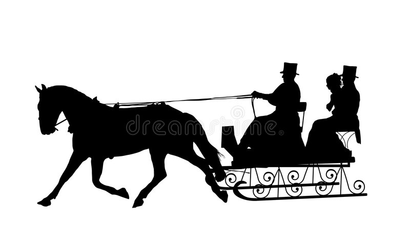 Horse Drawn Sleigh Stock Illustrations.