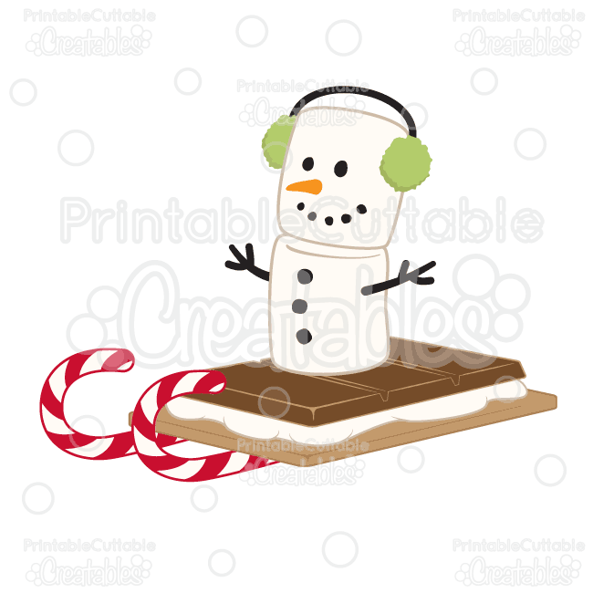 Marshmallow Snowman S'mores Sleigh Ride SVG Cut File & Clipart.