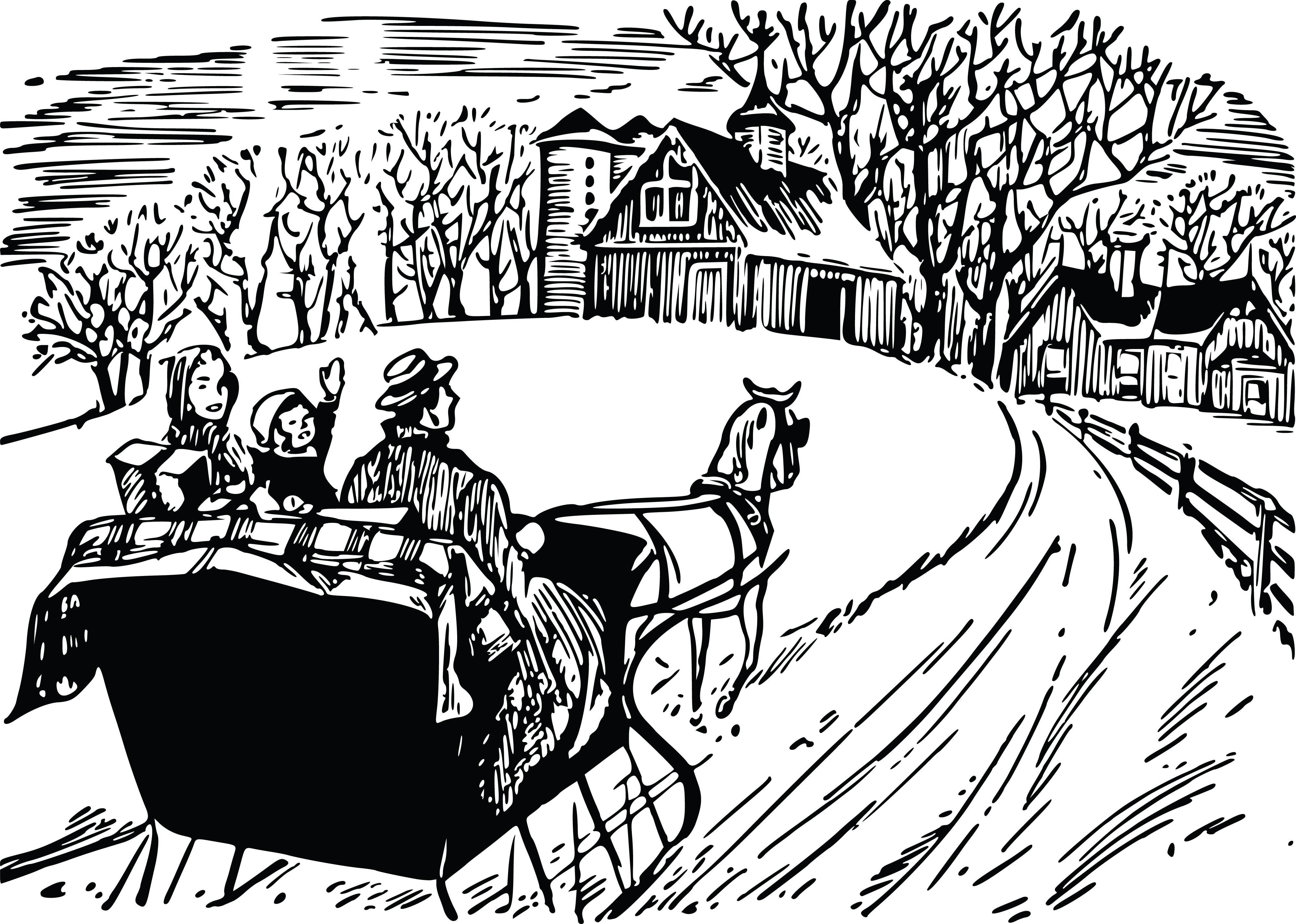 Free Clipart Of A winter sleigh ride.