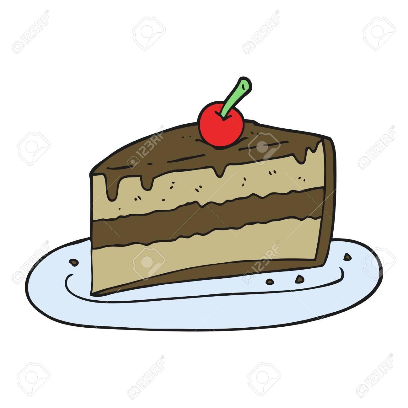 freehand drawn cartoon slice of cake.