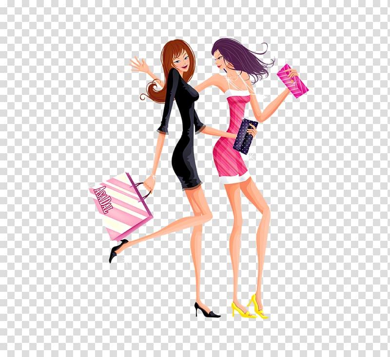 Cartoon Designer, Cartoon slim fashion shopping women.