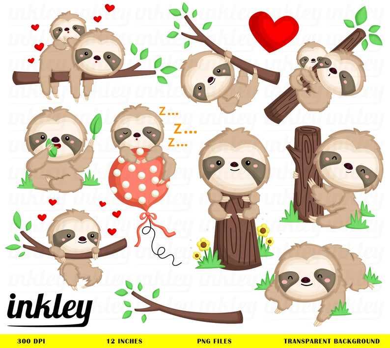 Sloth Clipart, Sloth Clip Art, Sloth Png, Cute Sloth Clipart, Happy Sloth  Clipart, Clipart, Animal Clipart, Sloth Playing, Sleeping.