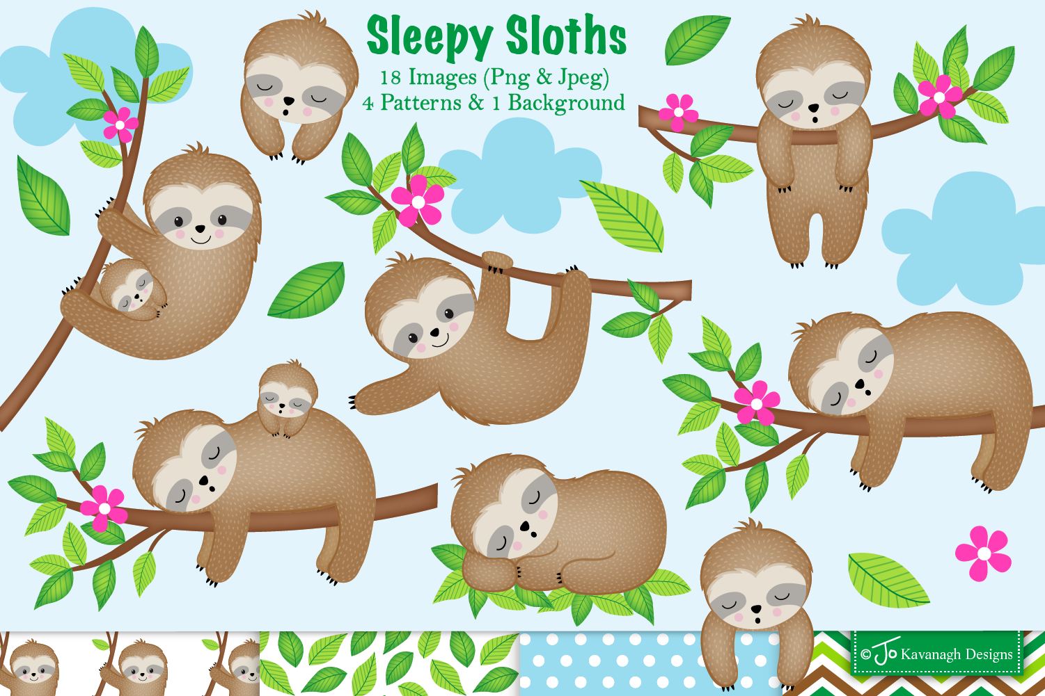 Sloth clipart,Sloth graphics & illustrations,Cute Sloths C28.