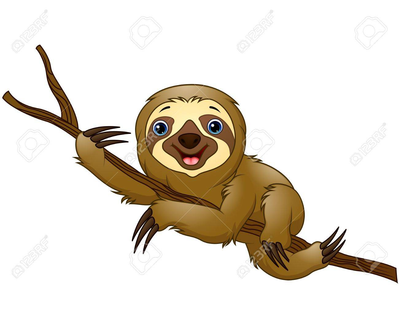 Cartoon sloth on a tree branch.
