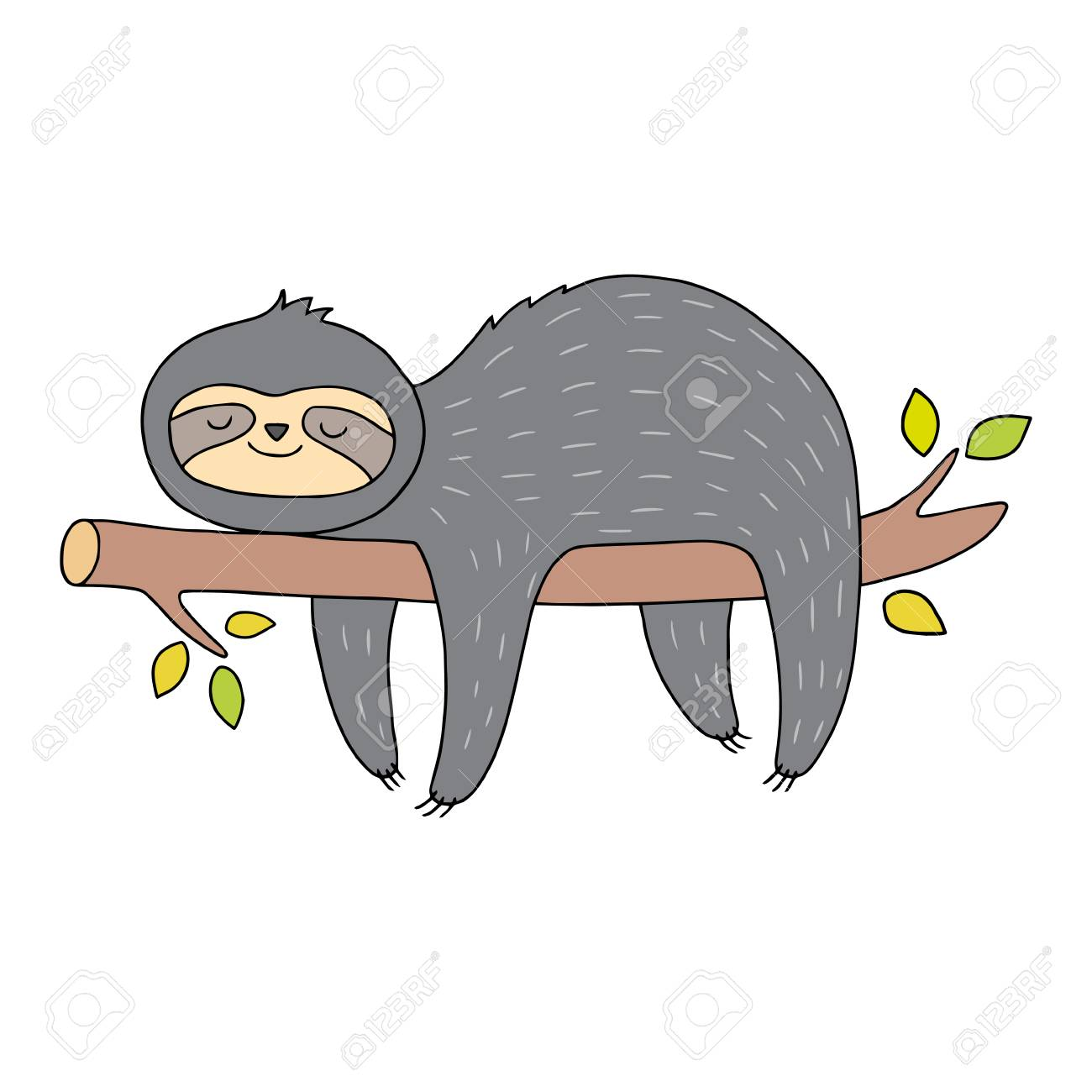 Cute sloth illustration. Vector drawing with outlines. Animal...