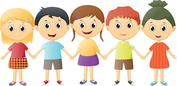small children holding hands Clipart Image.
