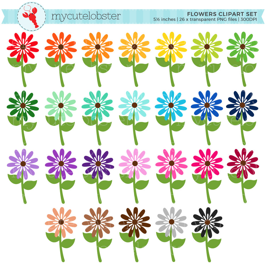 Rainbow Flowers Clipart Set.