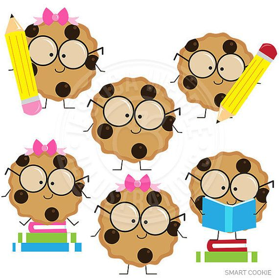 Smart Cookie Cute Digital Clipart, Cookie with Glasses Clipart.
